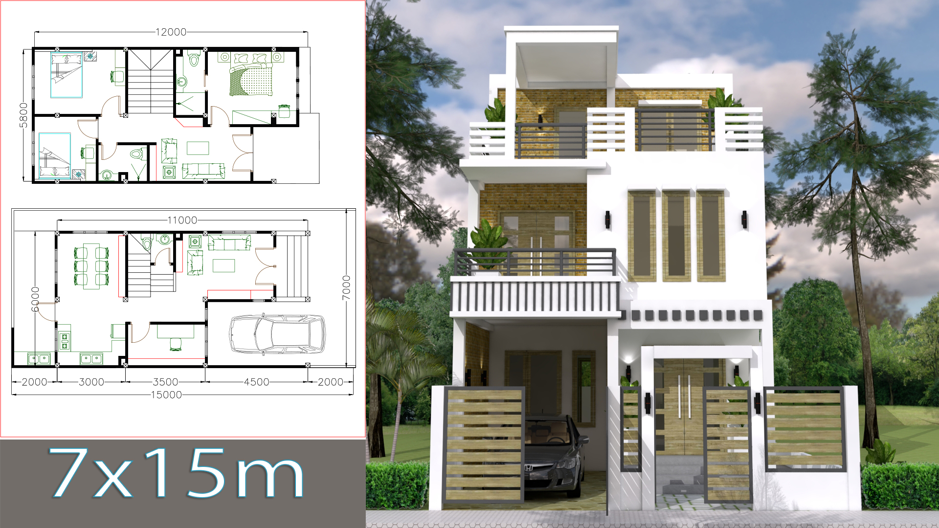 Home Design Plan 7x15m with 3 Bedrooms